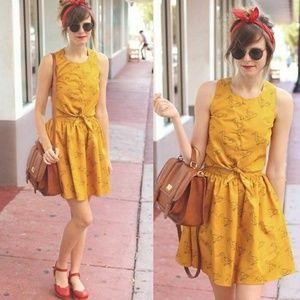 Pepaloves Modcloth Mustard Retro Duck Dress